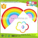 Baby Toddler 7 Piece Painted Wooden Rainbow Builder Blocks Educational Block Toy                                                                         Quality Choice
