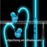 cheap glowing light EL wire earphones multi color orange gold white purple blue el wire in China