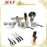 MSF-SS3012 Best selling whole cookware set Best combination for family kitchen 20pcs cookware set with kitchen tools & knives