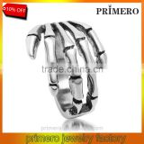 New Arrival Fashion Punk Stainless Steel skull bone claw hand Rings For Man Factory Price