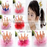 Hot style ! Fashion children's Hair accessories in US - wholesale fancy colorful shiny glitter fabric crown with clips