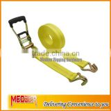 "Good quality package 2inch 50MM width Cargo Lashing Strap Belt/2"" tie down rubber coated handle J hooks"