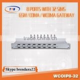 8 port with 32 sims cards 2100Mhz wcdma voip gateway communication equipment,wcdma usb stick