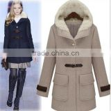 2014 winter fashion women's large size thick wool cotton-padded jacket