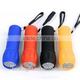 2016 best selling 9 leds gift flashlight Mini Flashlight ABS Portable Pocket Camping Flash Light Torch Lamp 4 Colors