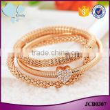 China wholesale rope zinc alloy rhinestone heart pendant gold filled charm bracelet