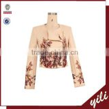 2014 NEW Chic printed Fashion Blazer Women long Sleeves zip Blazer Woman Slim Suit Jacket