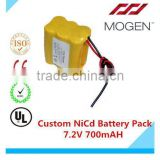 Ni-Cd Aa Rechargeable Battery Pack,Ni-Cd Aa 700Mah 7.2V Battery Pack 7.2v aa 700mah Custom Nicd Battery Pack
