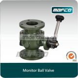 Fire water monitor shutoff ball valve for fire vehicles fire fighting equipment