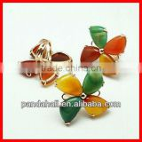 Natural Gem Agate Statement Rings, Adjustable Brass Circle, 2014 Summer Beach Decor(RJEW-C085-M3)