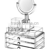 Acrylic Makeup Organizer with 3 Drawers, Lipstick Holder and Brush Holder, can be combined freely