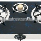 India hot sale kitchen appliance 3 burner glass top gas cooker /gas stove