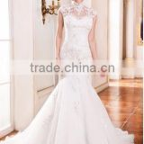 Everning Dress Party dress Trumpet/Mermaid High Neck Cathedral Train Organza Wedding Dress With Lace Beading Sequins