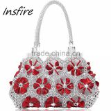 Beautiful wholesal products red flower crystal handbag shiny kit-clip evening bag elegant