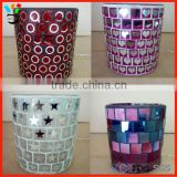 Romantic Art Glassware Personalized Design Pretty Round Shape Mosaic Glass Candle Holders