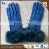 Fashion new style ladies winter blue thick alpaca wool knitted gloves with fur cuff