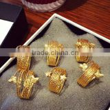 European And American New Design Gold Plated Multilayer Round Star Butterfly Heart Index Cuff Rings For Women