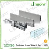 China supplier full extension soft close tandem box with glass cabinet fittings drawer slides