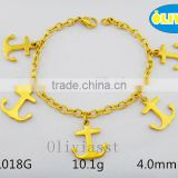 Olivia Jewelry wholesale fashion jewelry,mens stainless steel Anchor charms bracelet in gold plated