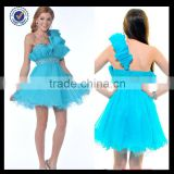 New Design Wholesale Custom Made Mini Sexy Charming One-shoulder Beaded Sky Blue Tulle With Crystals Cocktail Dress C0070