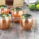 (SET OF 4 )FDA APPROVED BARREL HAMMERED FINISH MOSCOW MULE PURE COPPER MUG, BPA FREE PURE COPPER/LAB TESTED/ANTIQUE FINISH/BRASS