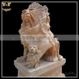 Hand-carved Marble Lion Statues