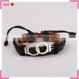 Handmade leather bracelet with Handcuffs decoration, leather bracelets for small wrists