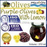 Purple Olives with Lemon, High Quality 100% Tunisian Purple Table Olives with Lemon, Purple Table Olives. 370 ml Glass Jar