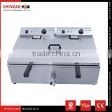Hot Dog Fryer Equipment Single Tank Electric Deep Fryer With Oil Tap