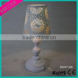 Modern wedding Table Lamp Roman Column stand Desk Lamp metal hollow carved fireworks design Lampshade decoration lighting