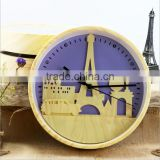 "Fashion 10"" Wood Color Clock With Iron Tower Shape, Creative Mute Wall Clock For Decoration"