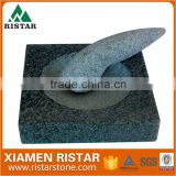 Mills type square granite stone mortar and pestle