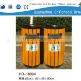 (HD-18004) outdoor litter bin good quality wood and galvanized barrel park wood storage bin