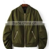 bomber jacket female long-sleeved solid-colored baseball uniform cotton-padded clothes during the spring and autumn