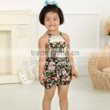 New Arrival Baby Cute Design Girls Satin Floral Lace Backless Sling Cotton Jumpsuit Romper For Kids
