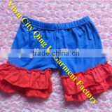 Wholesale Boutique Fourth of July Clothing USA Baby Girls Patriotic Blue Red Double Ruffle Shorts Cotton Kids 4th of July Outfit