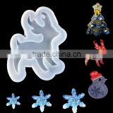 Custom Shape Christmas Reindeer Snowflake Snowman Snowflake Tree White Silicone Resin Mold For Jewelry Making DIY