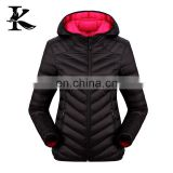 Women ultra light down jacket black hood down jacket for the winters