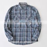 Custom boys check shirt soft cotton two check pockets design