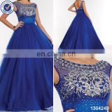 New arrival designs sleeveless royal blue beaded sequined prom dress ball gown 2014