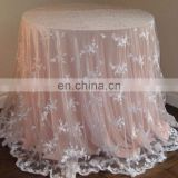 TL002P2 arabic white lace fabric embroidery table cloth
