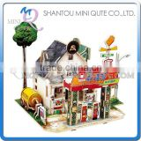 Mini Qute 3D Wooden Puzzle American Gas Station architecture famous building Adult kids model educational toy gift NO.F137