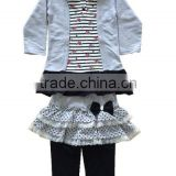 grey between black print children hoody dress long sleeve suit for girl from knitting factory in China whole production