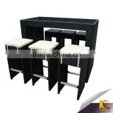 Outdoor black rattan high bar stool modern with low price garden bar table and chair