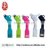 Original Retail Package Fashion Protable Charger Micro USB KeyChain Cable Keyring USB Charger Cable