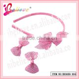 The most fashionable simple organza ribbon bow headband hair clips jewelry set for girls (XB3659--004)