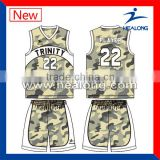 hot sales customize sublimation camo basketball uniform