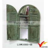 Olive Green Decorative Shutter Window Framed Antique Paint Mirror                                                                         Quality Choice