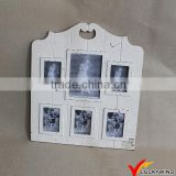 Wall Hanging Vintage White Wood Six Photo Picture Frame