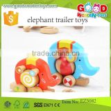 new design wooden car OEM kids toys car of elephant trailer educational cartoon car EZ5082